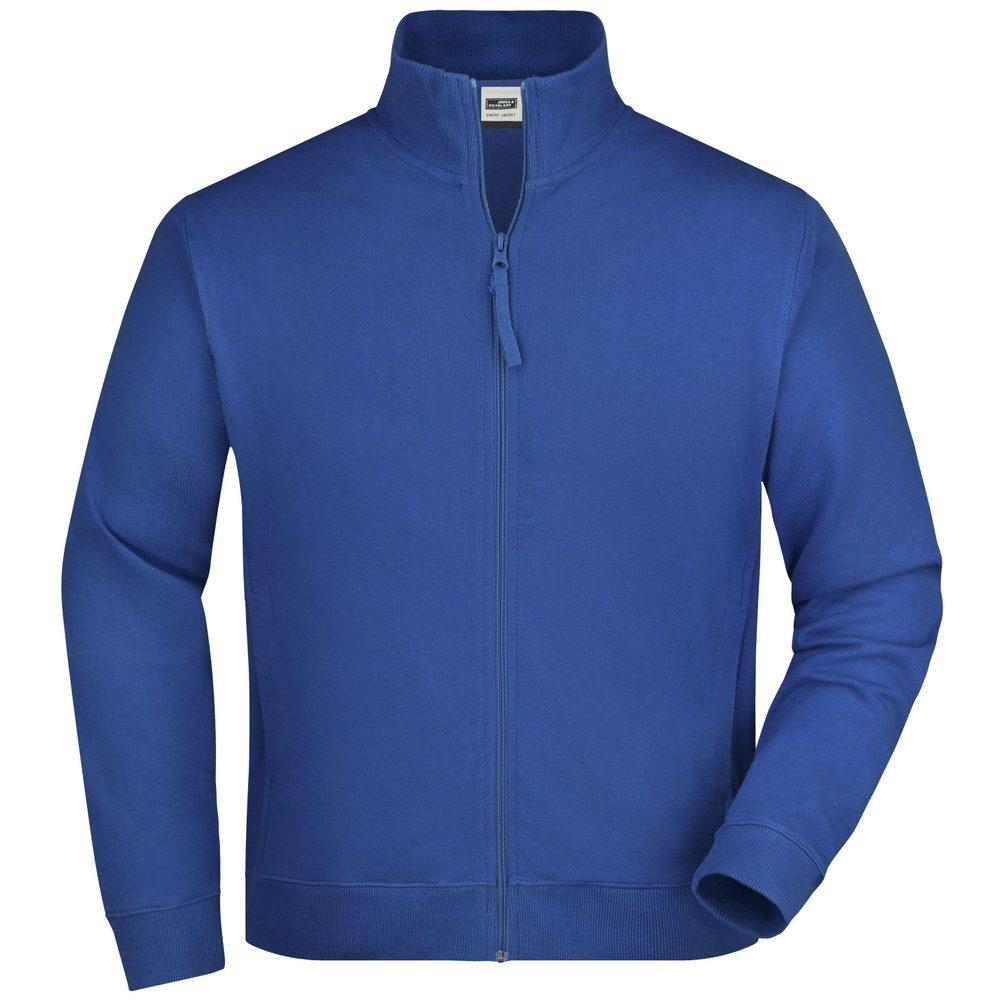 James & Nicholson Pánska mikina na zips bez kapucne JN058 - Královská modrá   XXL