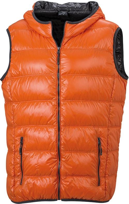 James & Nicholson Ľahká pánska páperová vesta JN1062 - Tmavě oranžová / tmavě šedá   XXL