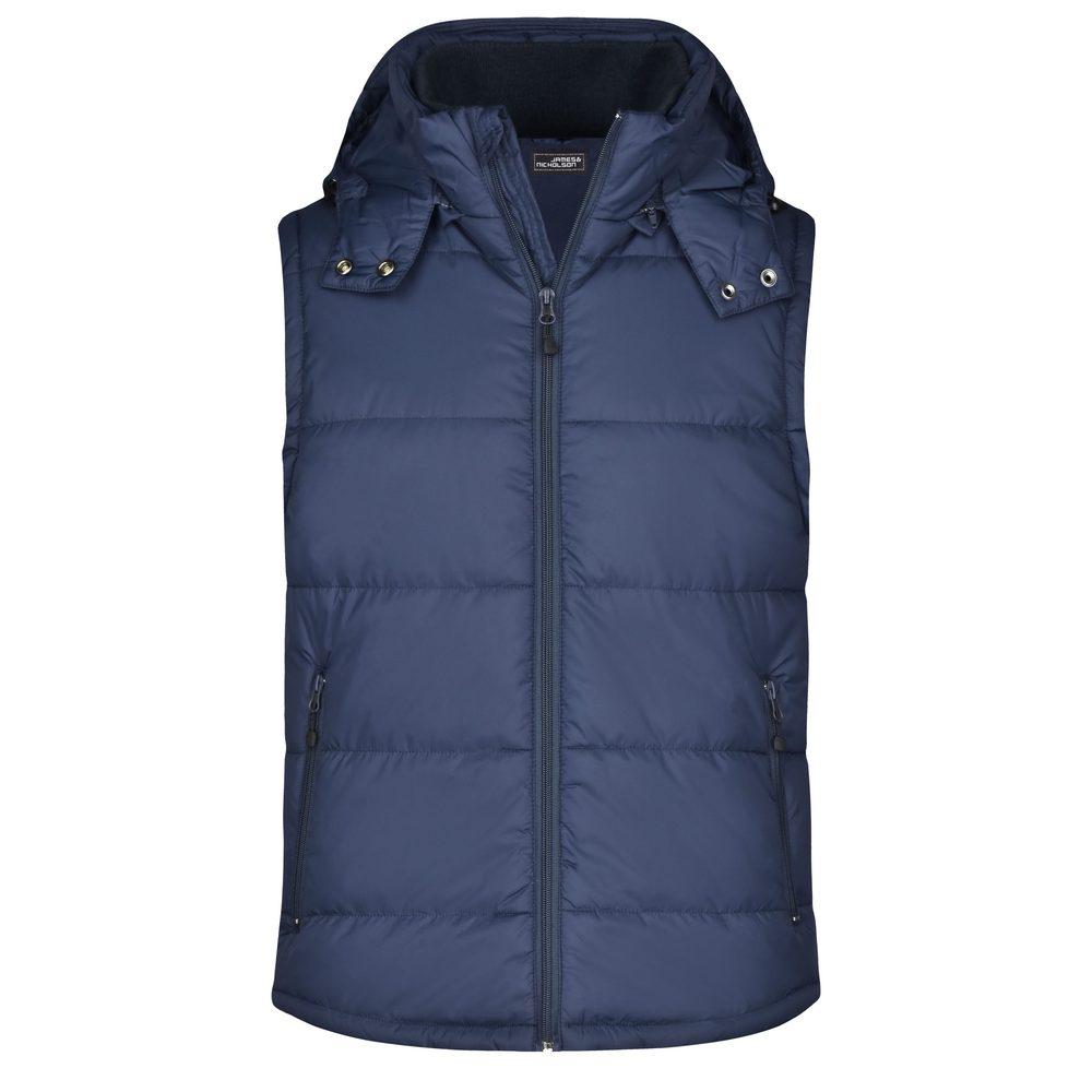 James & Nicholson Pánska zimná vesta s kapucňou JN1004 - Tmavě modrá   XXXL