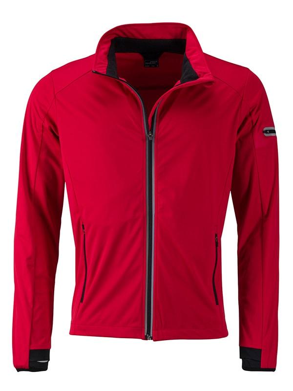 James & Nicholson Pánska športová softshellová bunda JN1126 - Světle červená / černá   XXXL
