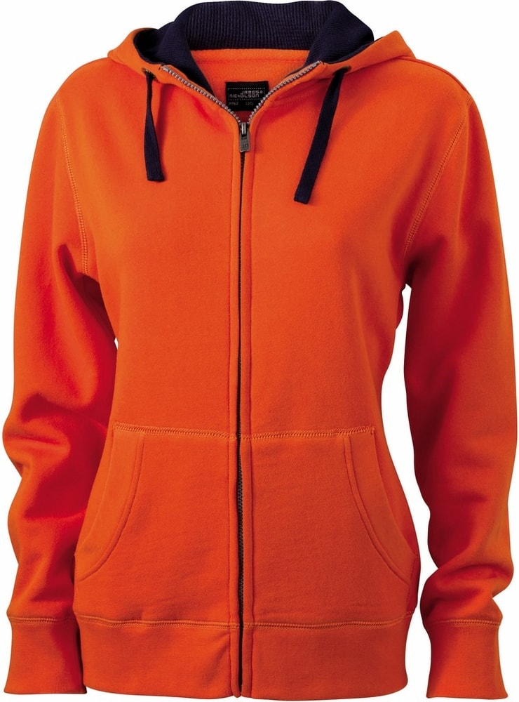 James & Nicholson Dámska mikina na zips s kapucňou JN962 - Tmavě oranžová / tmavě modrá | L