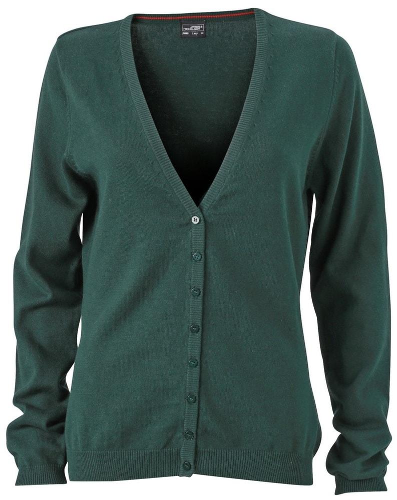 Dámský bavlněný svetr JN660 - Lesní zelená | M