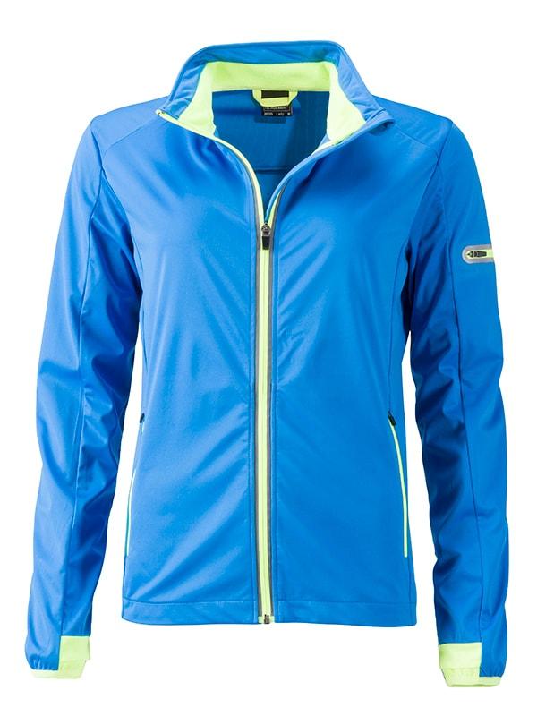 James & Nicholson Dámska športová softshellová bunda JN1125 - Jasně modrá / jasně žlutá   L