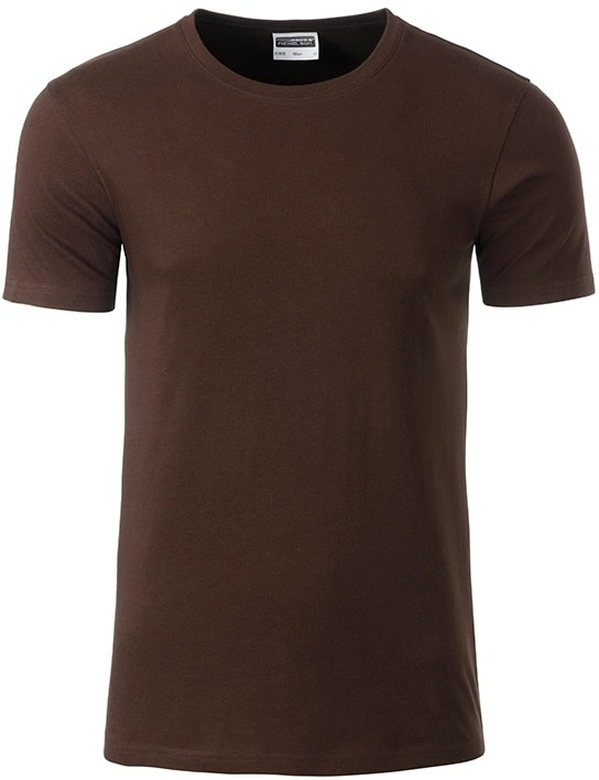 James & Nicholson Klasické pánske tričko z biobavlny 8008 - Hnědá | M