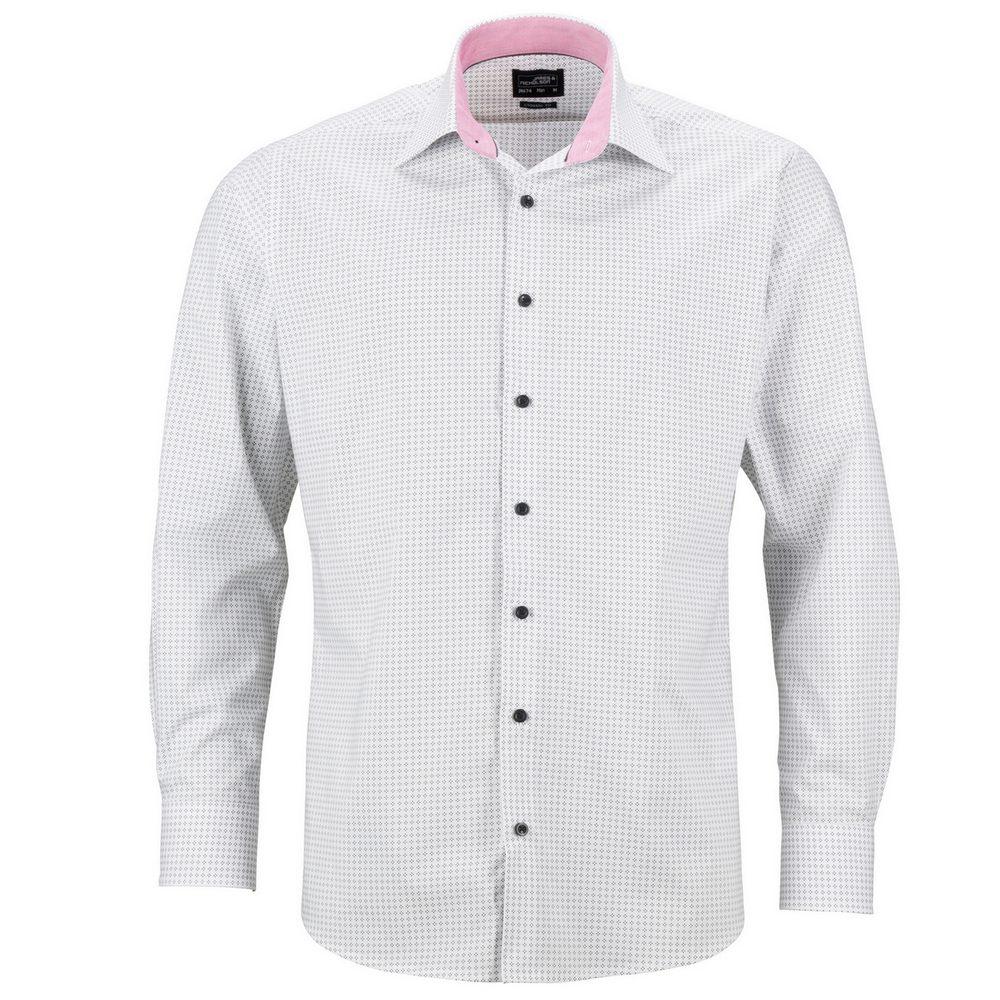 James & Nicholson Pánská luxusní košile Dots JN674 - Bílá / titanová | L