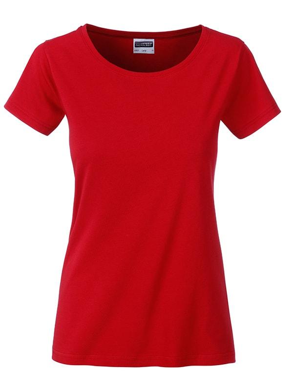 James & Nicholson Klasické dámske tričko z biobavlny 8007 - Červená | XL