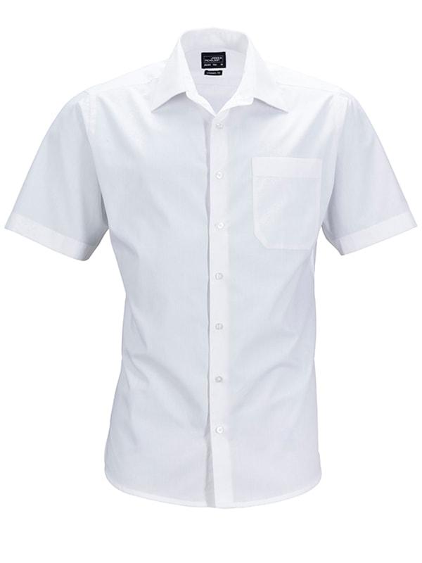 James & Nicholson Pánská košile s krátkým rukávem JN644 - Bílá | XXXL