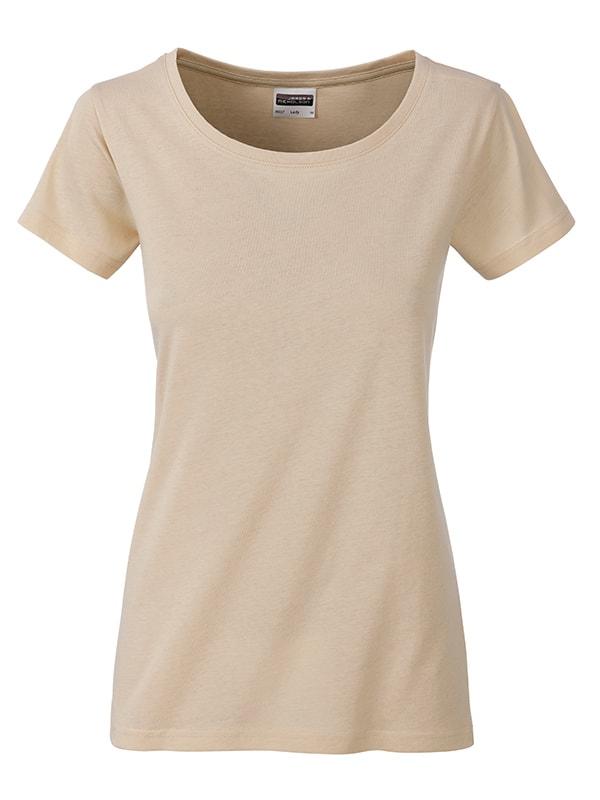 James & Nicholson Klasické dámske tričko z biobavlny 8007 - Stone | XL
