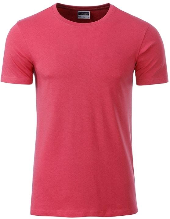James & Nicholson Klasické pánske tričko z biobavlny 8008 - Malinová | XXL