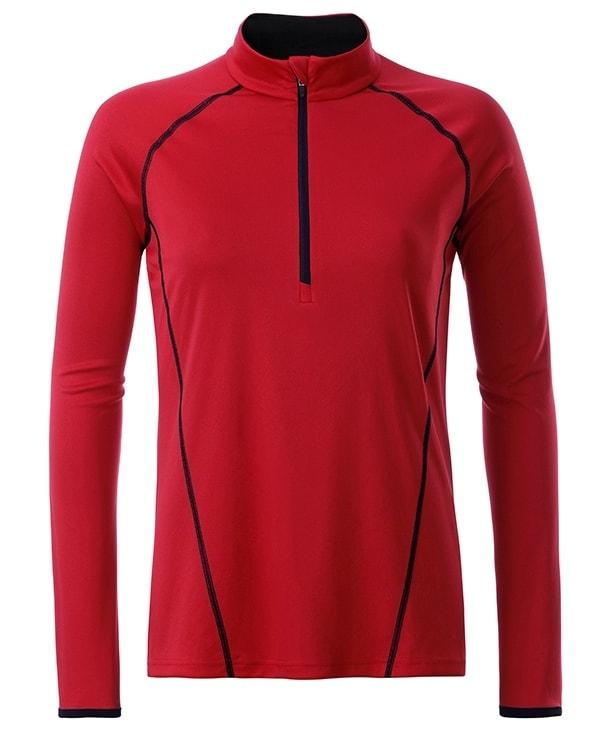James & Nicholson Dámske funkčné tričko s dlhým rukávom JN497 - Červená / černá | L