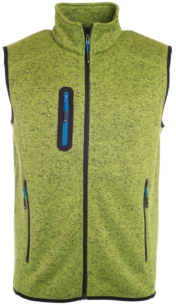 James & Nicholson Pánska vesta z pleteného fleecu JN774 - Kiwi melír / královská modrá | S