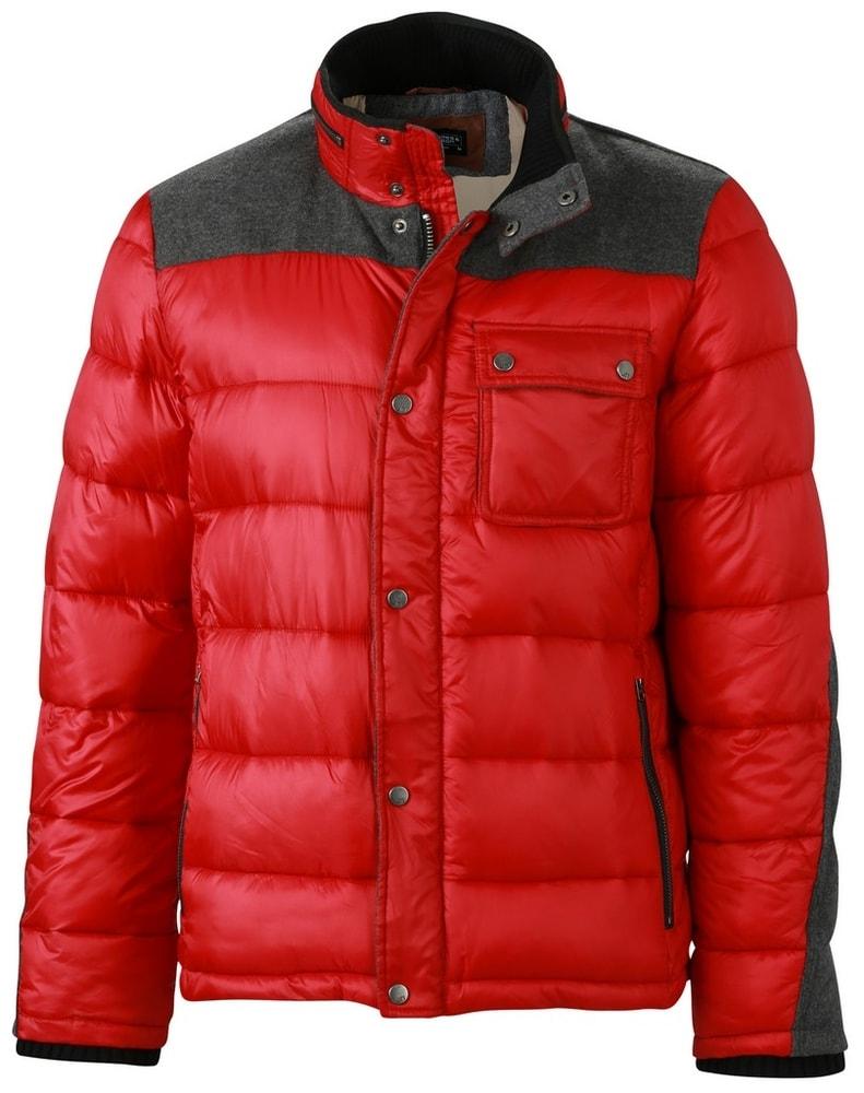 James & Nicholson Pánska zimná bunda JN1100 - Indická červená | XXXL