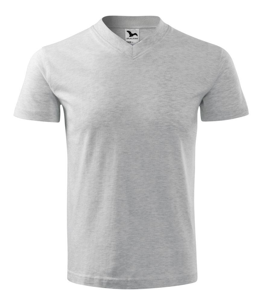 Adler Tričko V-neck - Světle šedý melír | S