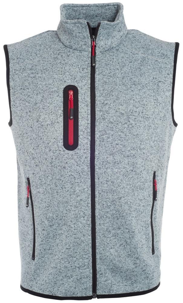 James & Nicholson Pánska vesta z pleteného fleecu JN774 - Světle šedý melír / červená | XXXL
