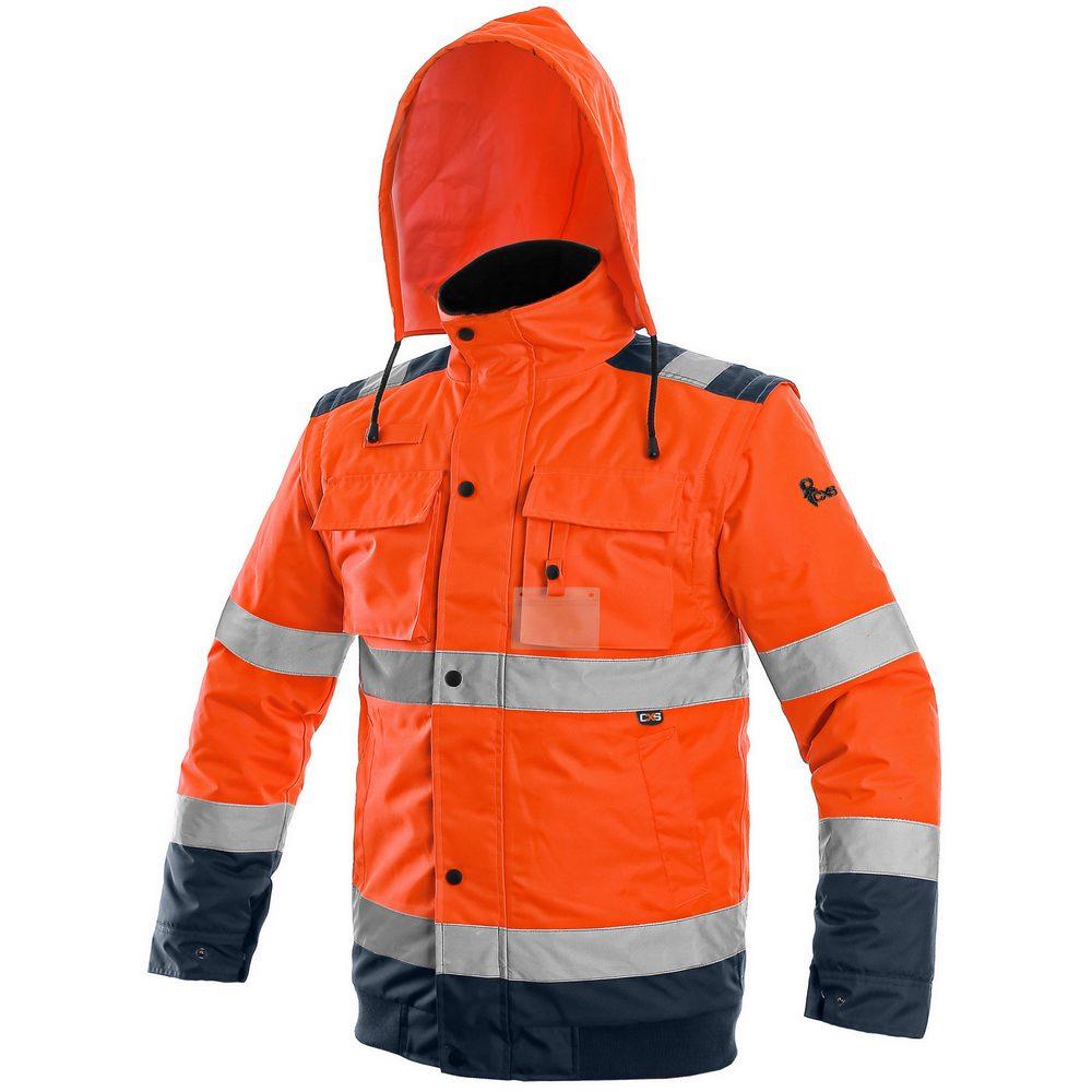 Canis Reflexná bunda 2v1 LUTON - Oranžová / tmavě modrá | M