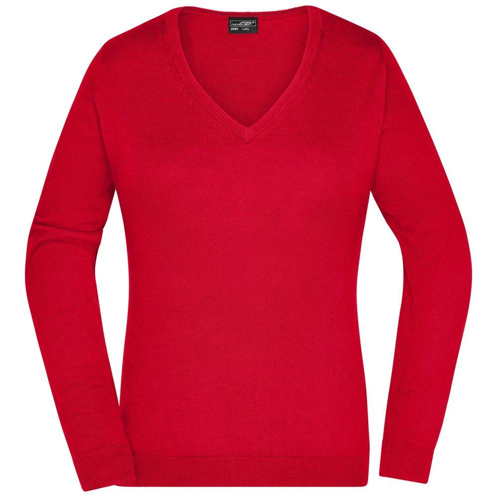 James & Nicholson Dámský bavlněný svetr JN658 - Červená | XS