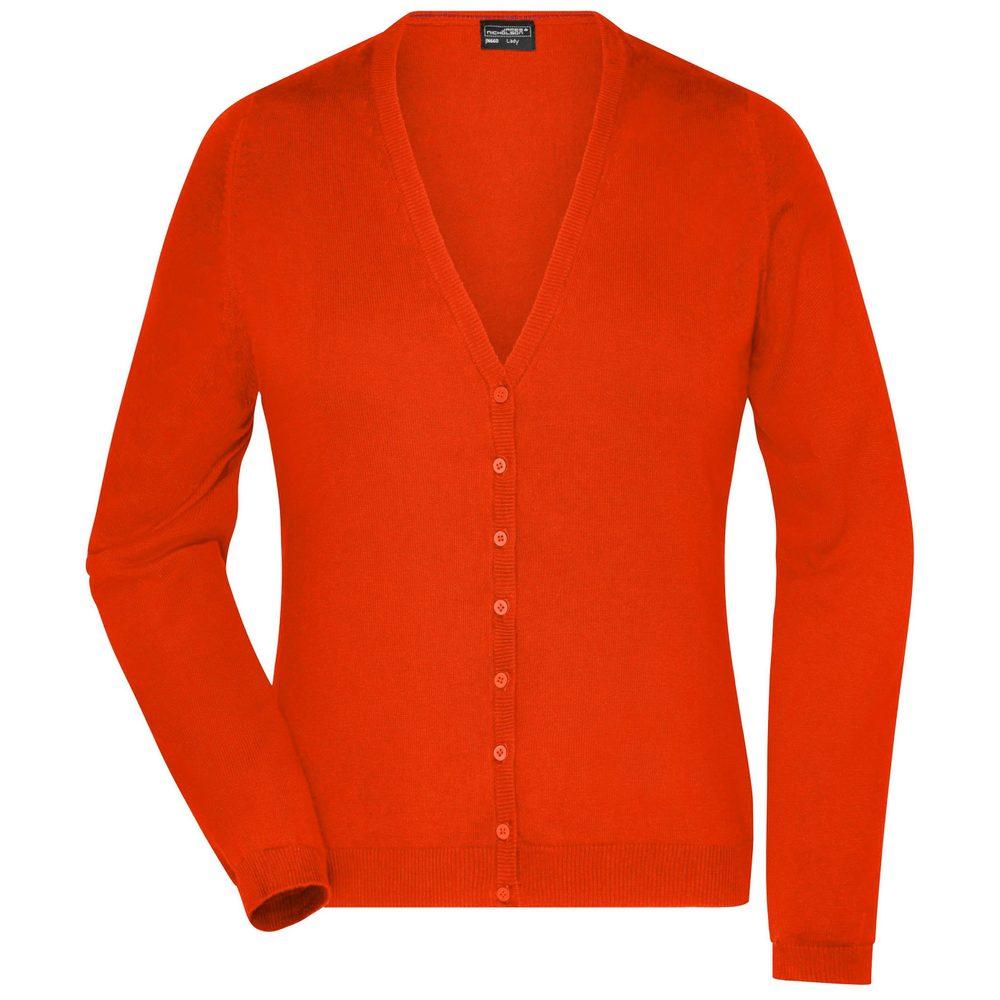 James & Nicholson Dámský bavlněný svetr JN660 - Tmavě oranžová | XL