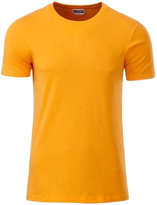James & Nicholson Klasické pánske tričko z biobavlny 8008 - Zlatě žlutá | XXL