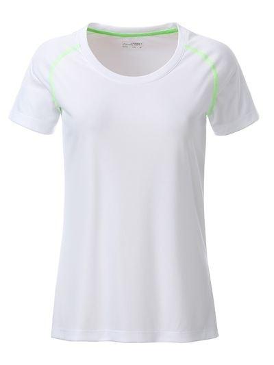 James & Nicholson Dámske funkčné tričko JN495 - Bílá / jasně zelená | M