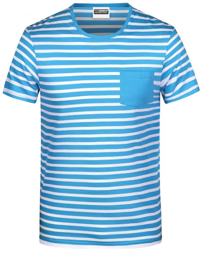 James & Nicholson Pánske pruhované tričko z biobavlny 8028 - Atlantik / bílá | M