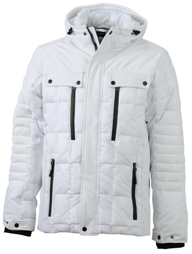 James & Nicholson Športová pánska zimná bunda JN1102 - Bílá / černá | L
