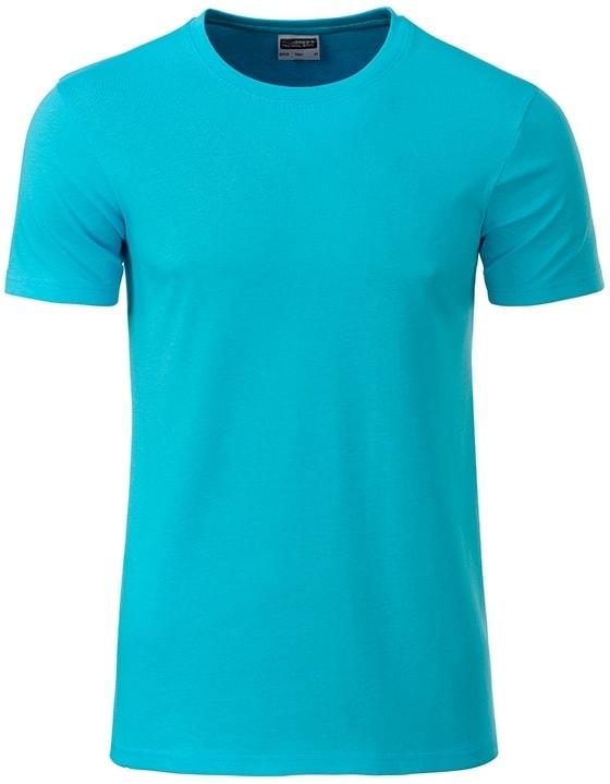 James & Nicholson Klasické pánske tričko z biobavlny 8008 - Tyrkysová | XXL