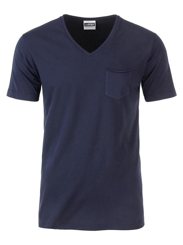 James & Nicholson Pánske tričko z biobavlny 8004 - Tmavě modrá | L