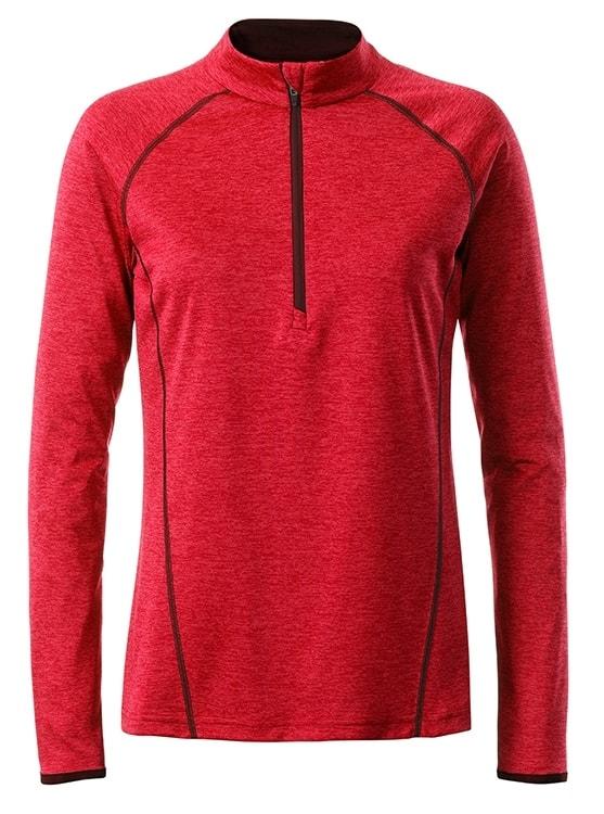 Dámské funkční tričko s dlouhým rukávem JN497 - Červený melír   M