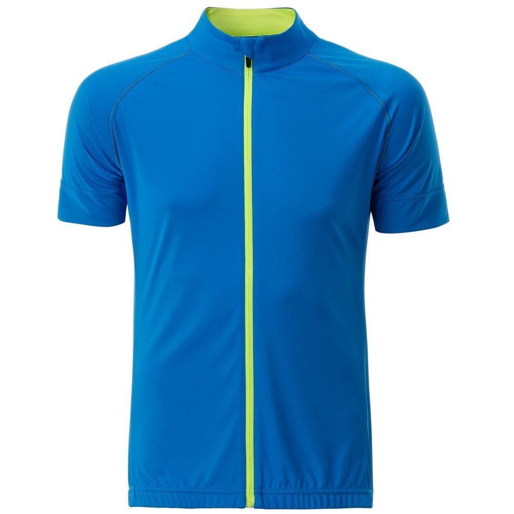 James & Nicholson Pánský cyklistický dres na zip JN516 - Jasně modrá / jasně žlutá   M
