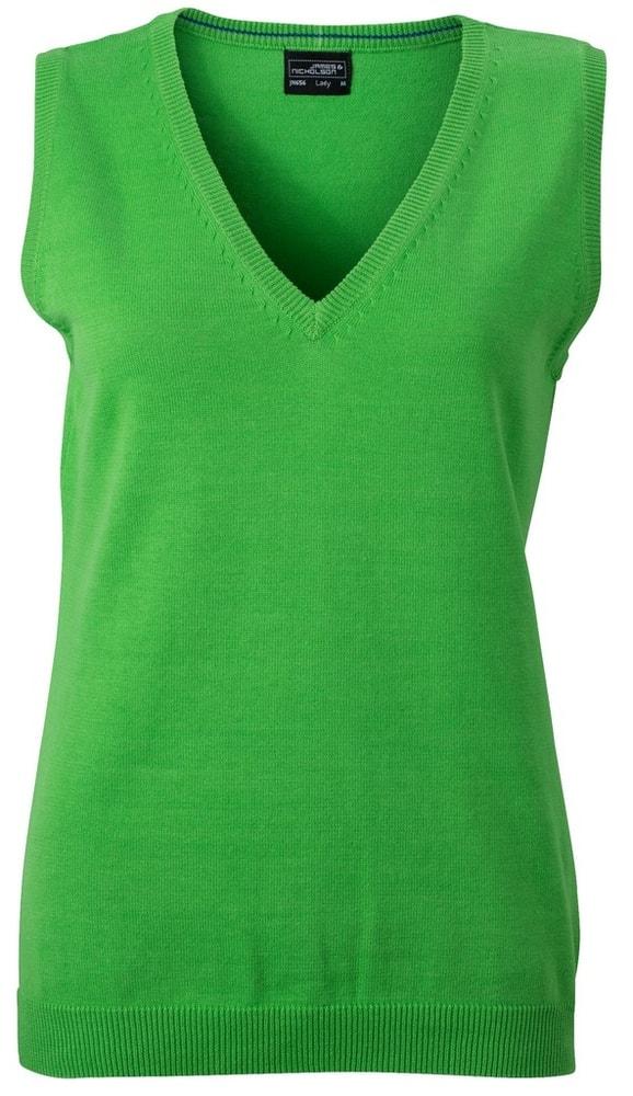 James & Nicholson Dámský svetr bez rukávů JN656 - Zelená | L