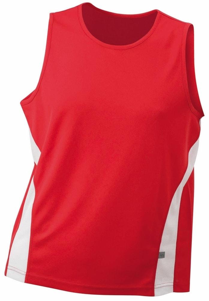 James & Nicholson Pánske športové tričko bez rukávov JN305 - Červená / bílá | XXL