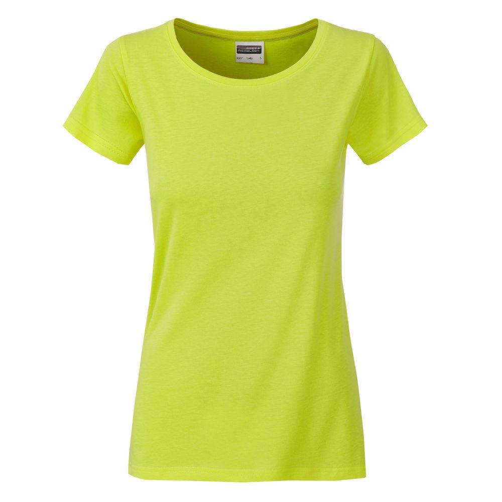 James & Nicholson Klasické dámske tričko z biobavlny 8007 - Žlutozelená | M