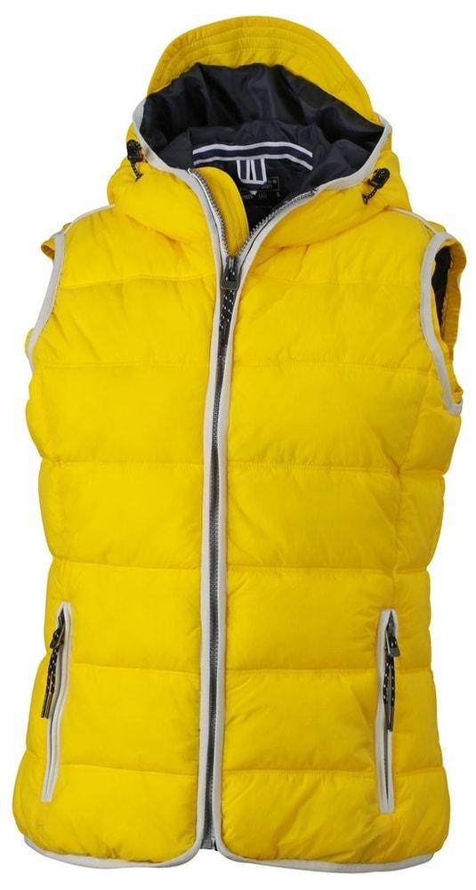 James & Nicholson Dámska športová vesta JN1075 - Slunečně žlutá / bílá | XL