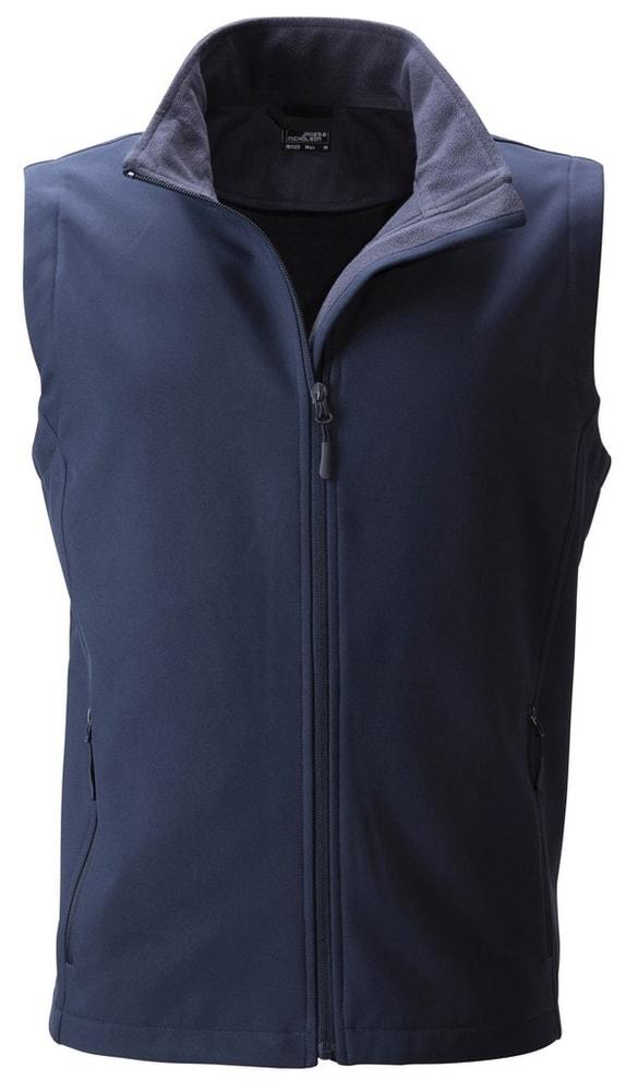 James & Nicholson Pánska softshellová vesta JN1128 - Tmavě modrá / tmavě modrá | XXL