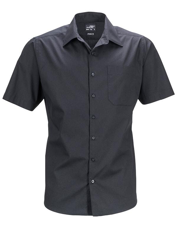 James & Nicholson Pánská košile s krátkým rukávem JN644 - Černá   S