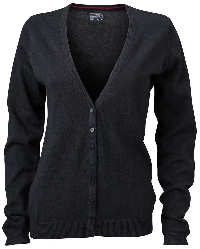 James & Nicholson Dámský bavlněný svetr JN660 - Černá | M