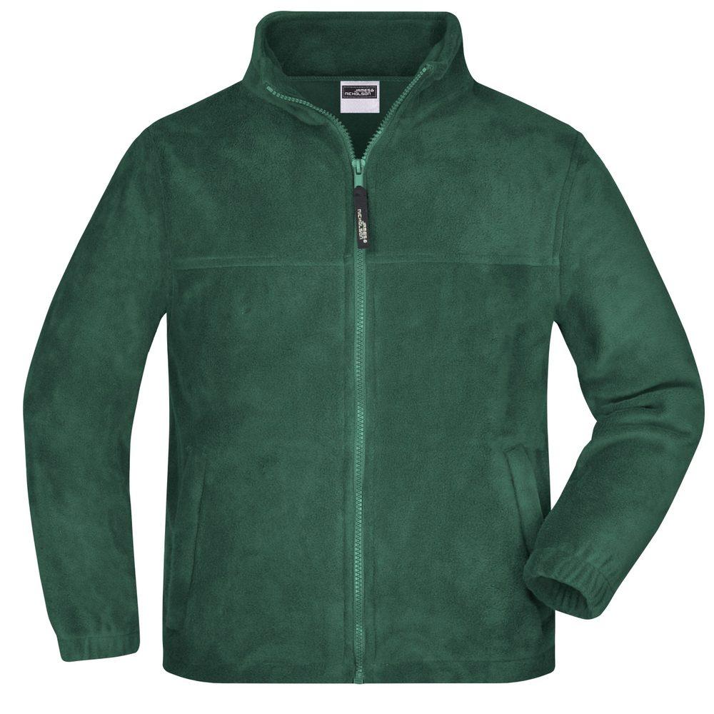 James & Nicholson Detská fleece mikina JN044k - Tmavě zelená | L