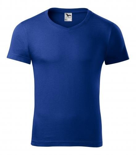 Adler Pánske tričko Slim Fit V-neck - Královská modrá   XXL