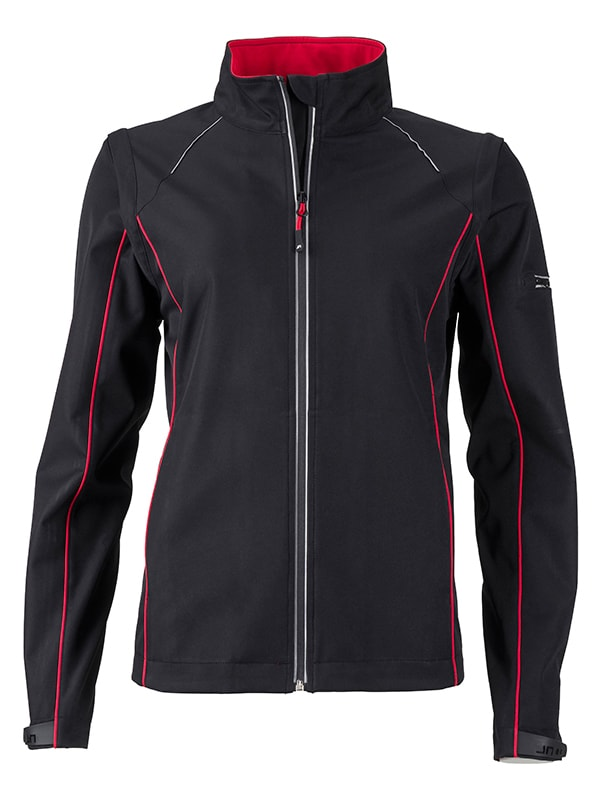 James & Nicholson Dámská softshellová bunda 2v1 JN1121 - Černá / červená | L