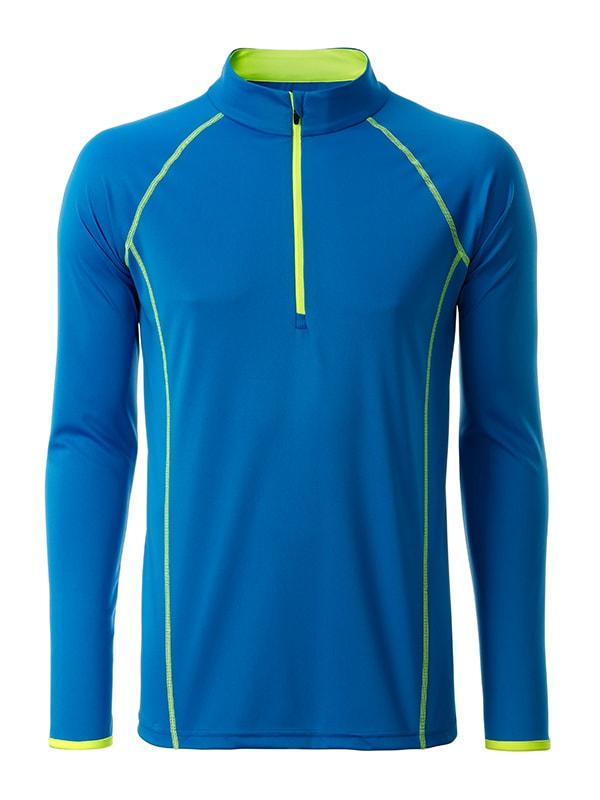 James & Nicholson Pánske funkčné tričko s dlhým rukávom JN498 - Jasně modrá / jasně žlutá | XXL