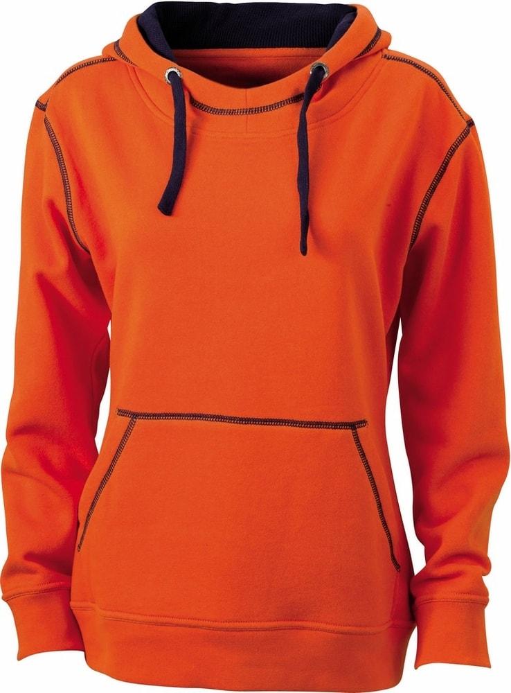 James & Nicholson Dámska mikina s kapucňou JN960 - Tmavě oranžová / tmavě modrá | L