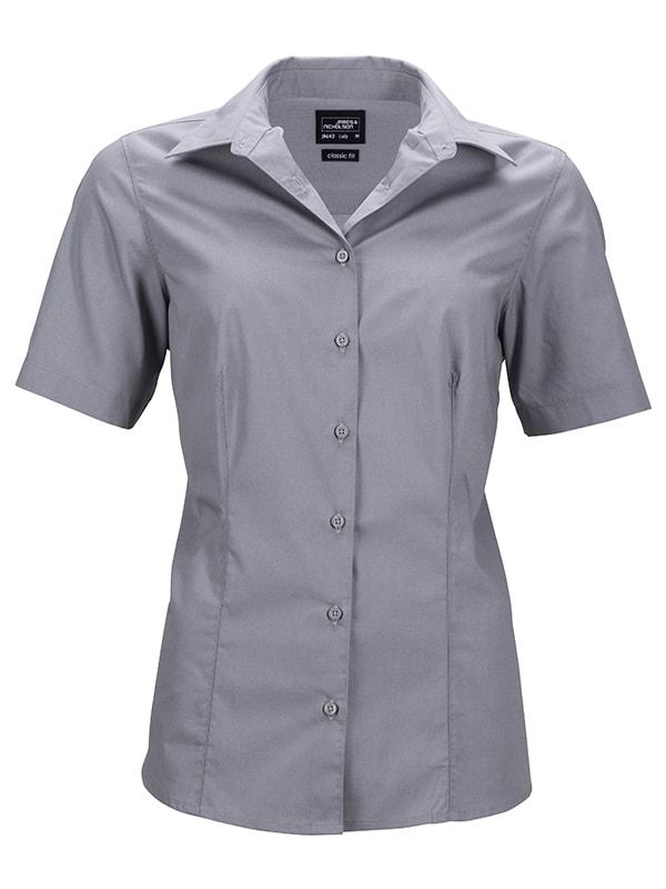 James & Nicholson Dámská košile s krátkým rukávem JN643 - Ocelová | M