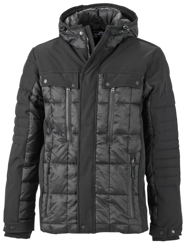 James & Nicholson Športová pánska zimná bunda JN1102 - Černá / černá   XXXL