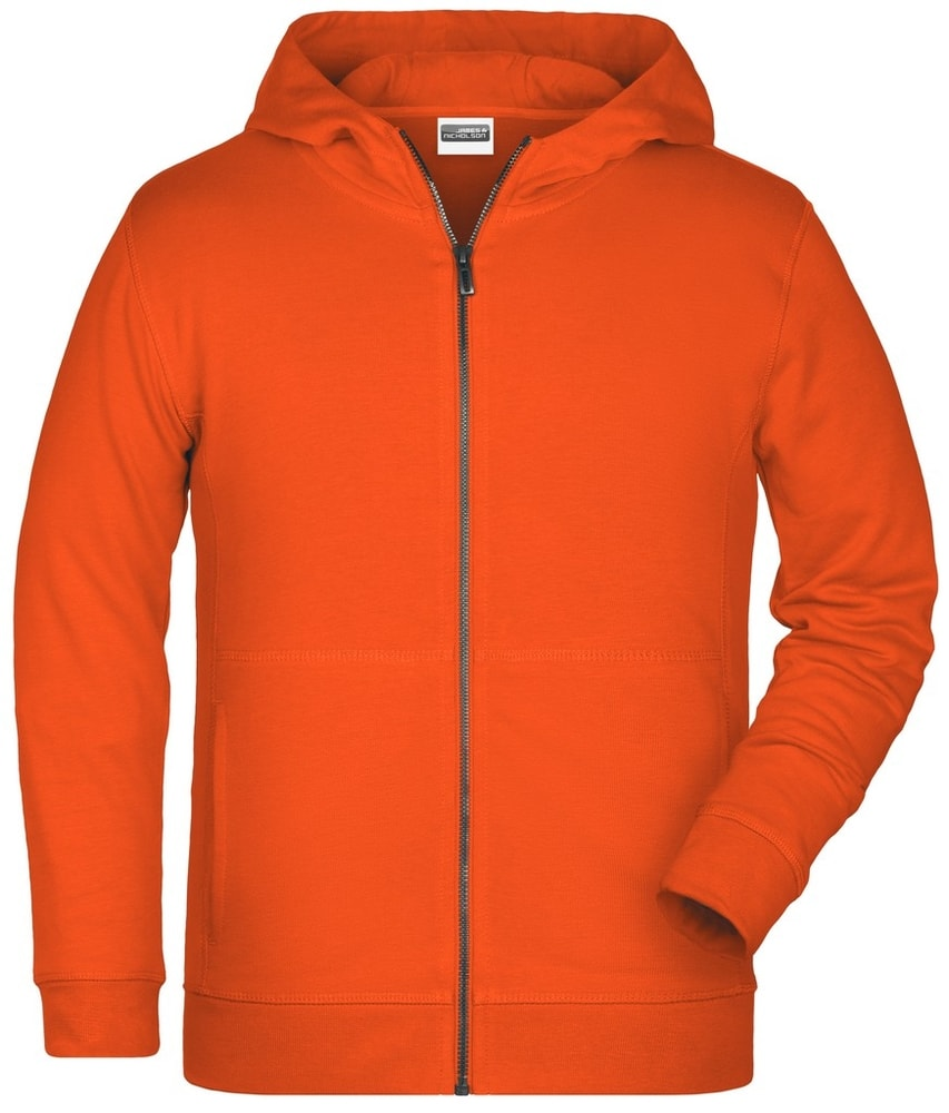 James & Nicholson Detská mikina na zips z biobavlny 8026k - Oranžová | L