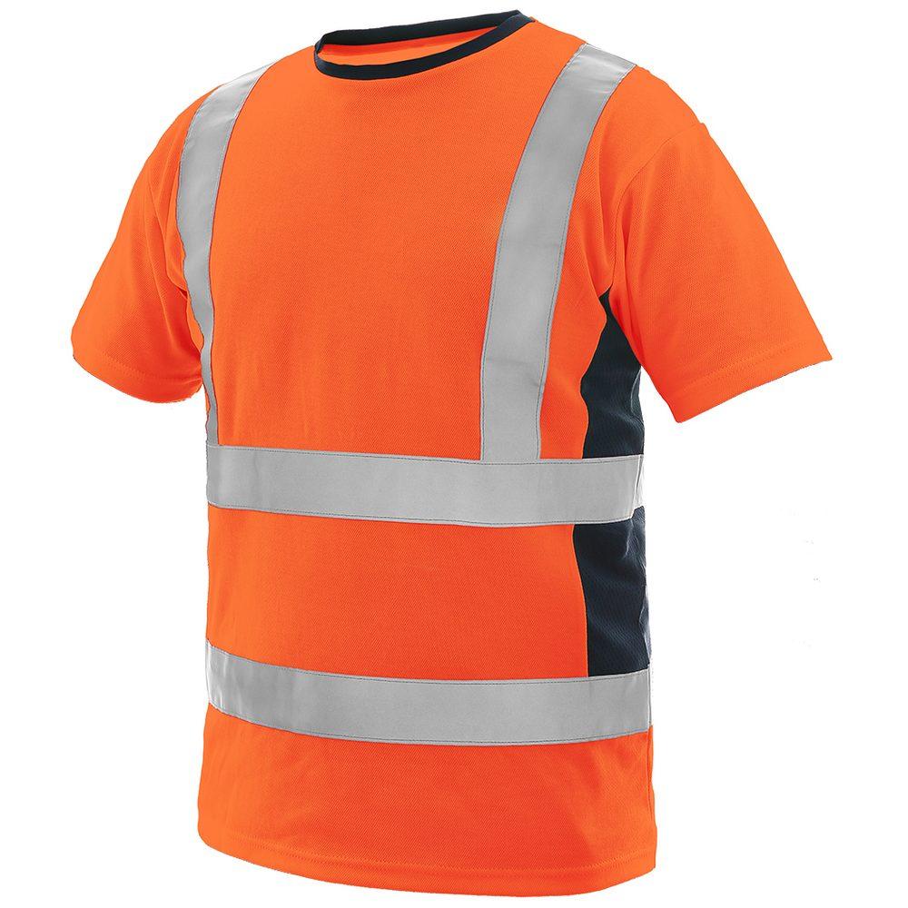 Canis Pánske výstražné tričko EXETER - Oranžová / tmavě modrá | XXXL