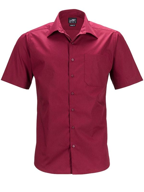 James & Nicholson Pánská košile s krátkým rukávem JN644 - Vínová | XXL