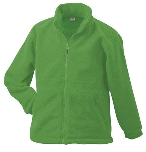 James & Nicholson Detská fleece mikina JN044k - Limetkově zelená | L