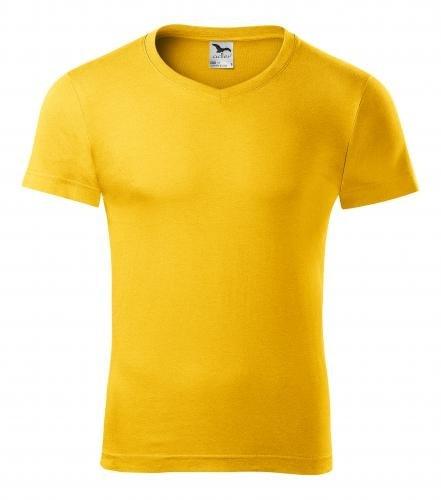 Adler Pánske tričko Slim Fit V-neck - Žlutá | XXL