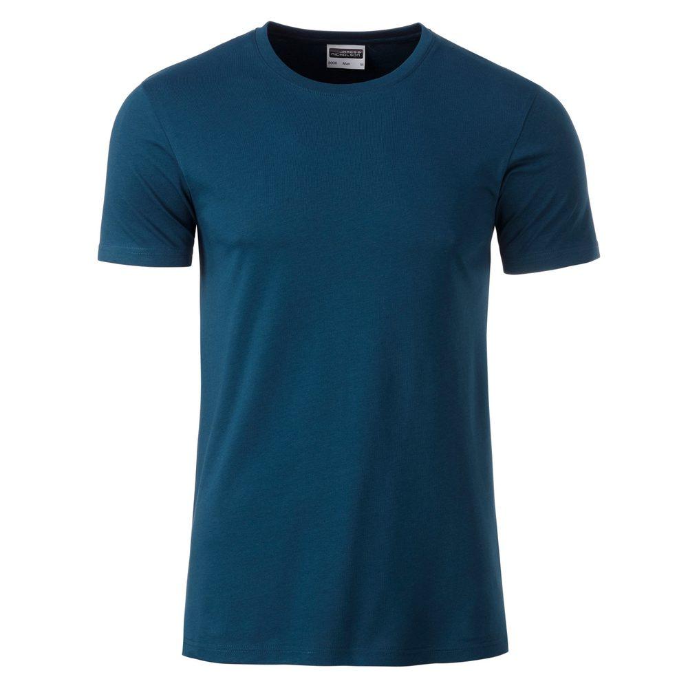 James & Nicholson Klasické pánske tričko z biobavlny 8008 - Petrolejová | XL