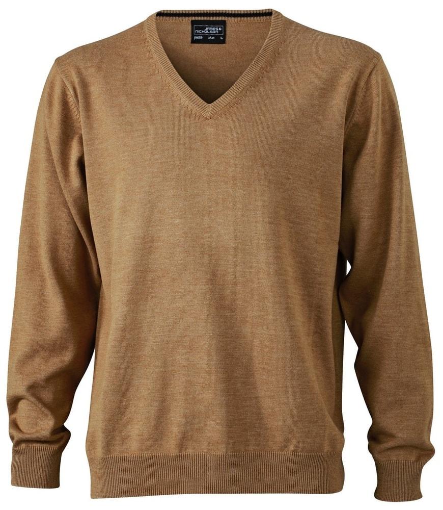 James & Nicholson Pánský bavlněný svetr JN659 - Camel | XXXL